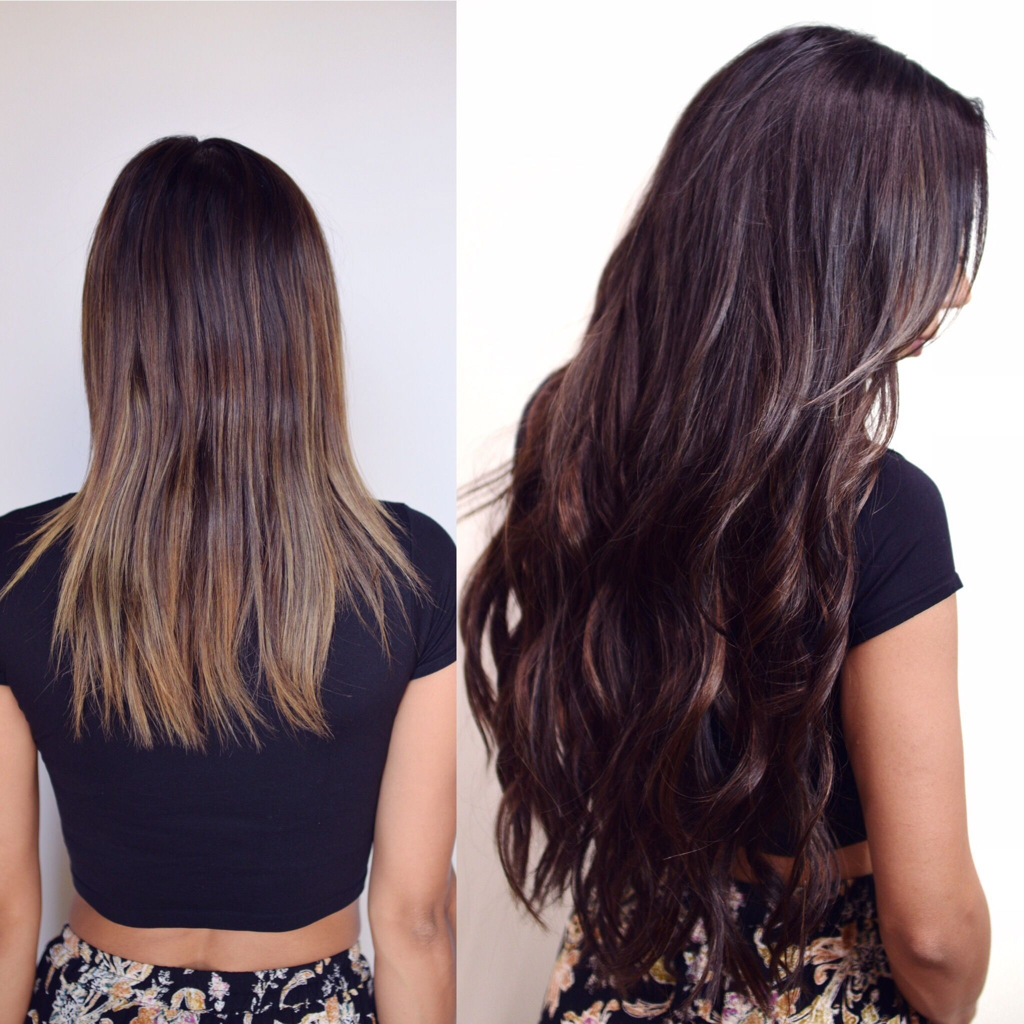 Before and After Brunette with Hand Tied Extensions